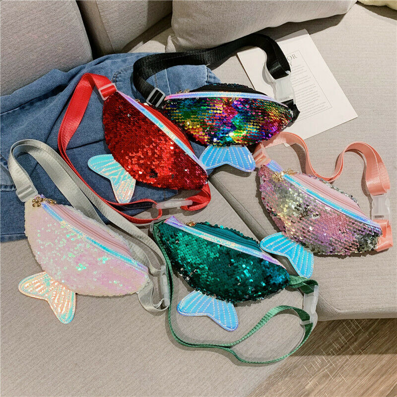 Kids Girls Fashion Sequin Waist Bag Single Shoulder Chest Bag Mobile Coin Purse Glitter Mermaid Crossbody Bag Handbag Wallet