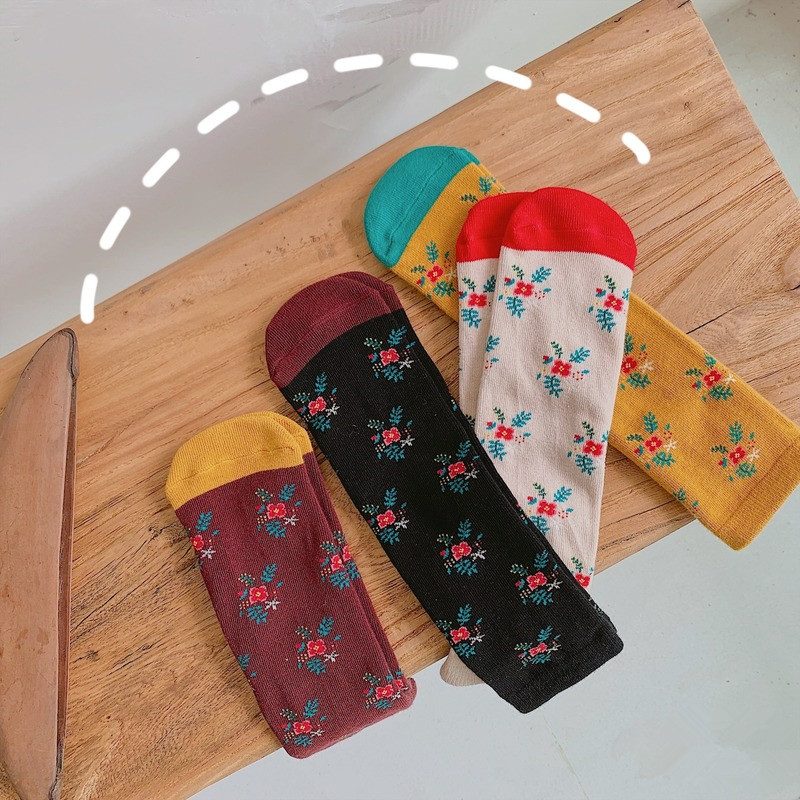 Fashion Baby Girls Tube Socks Lovely Flower Print Knee Socks Toddler Cotton Long Socks Kids Children Leg Warmers Socks 1-12Years