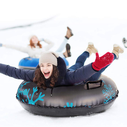 Floated Skiing Board PVC Winter Inflatable Ski Circle With Handle Durable Children Adult Outdoor Snow Tube Skiing Accessories