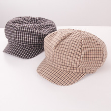 Winter Women Berets Caps for Plaid Wool French Girls Beret Hat Autumn