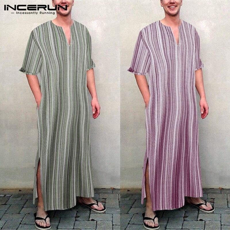 INCERUN Muslim Islamic Kaftan Men Striped Long Sleeve V Neck Vintage Cotton Robes Dubai Saudi Arabia Men Jubba Thobe 2019 S-5XL