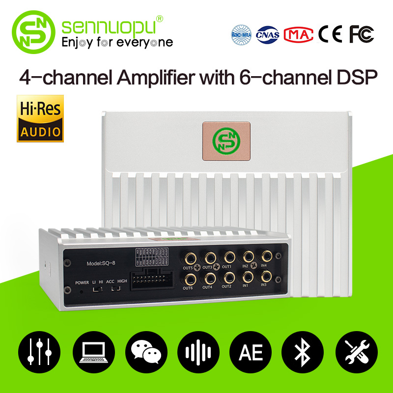 Sennuopu автомобильный усилитель DSP 4 Каналы AMP с 6 канальный цифровой процессор Bluetooth эквалайзер с помощью приложения настройки