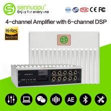 Amplificador dsp do carro de sennuopu 4 canais amp com 6 ch processador digital equalizador do jogador de bluetooth pelo ajuste do aplicativo