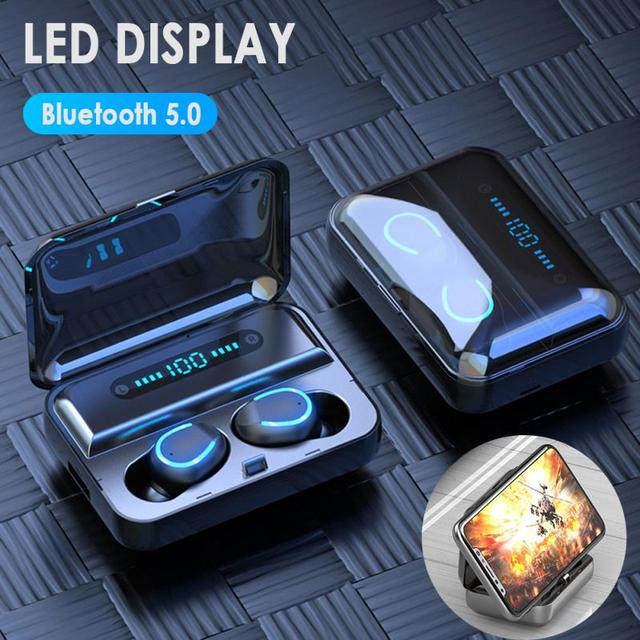 Mini Earphone Bluetooth 5.0 F9-5 TWS True Wireless Bluetooth Earphone LED Display Breathing Light2000mAh Power Bank Headset 5