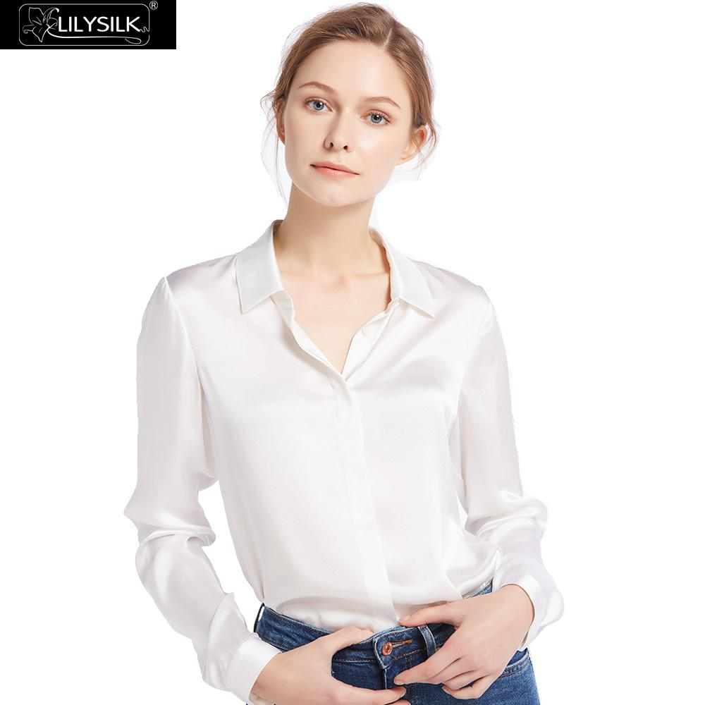 100 Pure Silk Satin Blouses For Women White Shirt Long Sleeves Chinese(China)