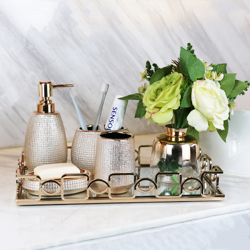 European style Gold-plated ceramic washing tools Rose Gold Bathroom Accessory set Bottle Mouthwash Cup Soap Toothbrush Holder
