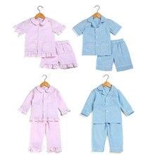 2020 summer spring kids pajamas sets 100% cotton seersucker pjs toddler sleepwear girls boys sleepwear