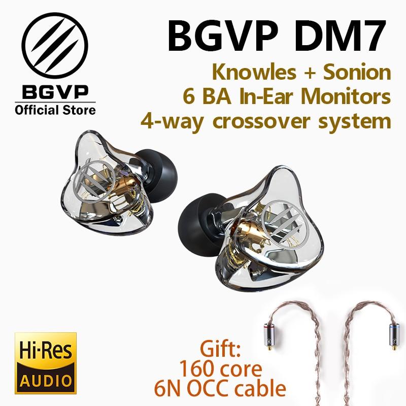 BGVP DM7 6 BA Em Monitores de Ouvido fone de ouvido HIFI Novo 2019 Personalizar IEM knowles sonion motoristas com o dom de um fone de ouvido com dois cabos