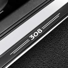 4 pièces en Fiber de carbone protecteur voiture porte seuil plaque couverture autocollant pour Peugeot 308 Auto porte seuil éraflure plaque gardes accessoires
