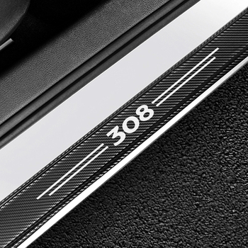 4PCS Carbon Fiber Protector Car Door Sill Plate Cover Sticker For Peugeot 308 Auto Door Threshold Scuff Plate Guards Accessories