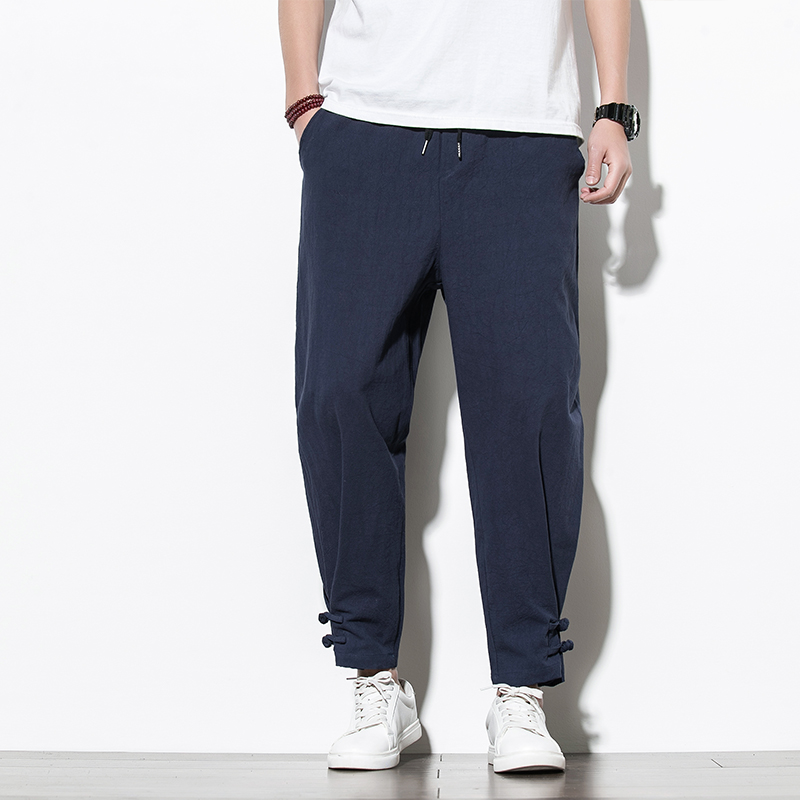 Chinese Style Cotton Linen Men's Pants Jogger Men Linen Pants Comfortable Male Trousers Pants Casual Full Pants Streetwear