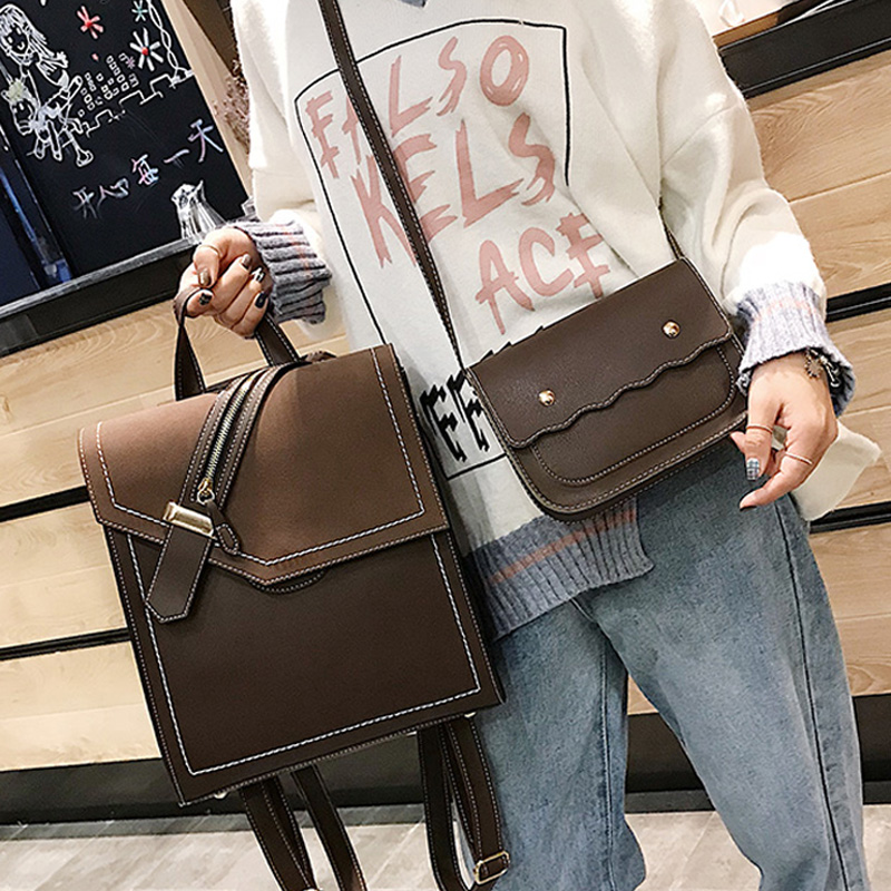 2019 New Scru Pu Leather Backpack Women Fashion School Bags Backpacks For Teenage Girls Brown Vintage 2pcs Backpack Sac A Dos