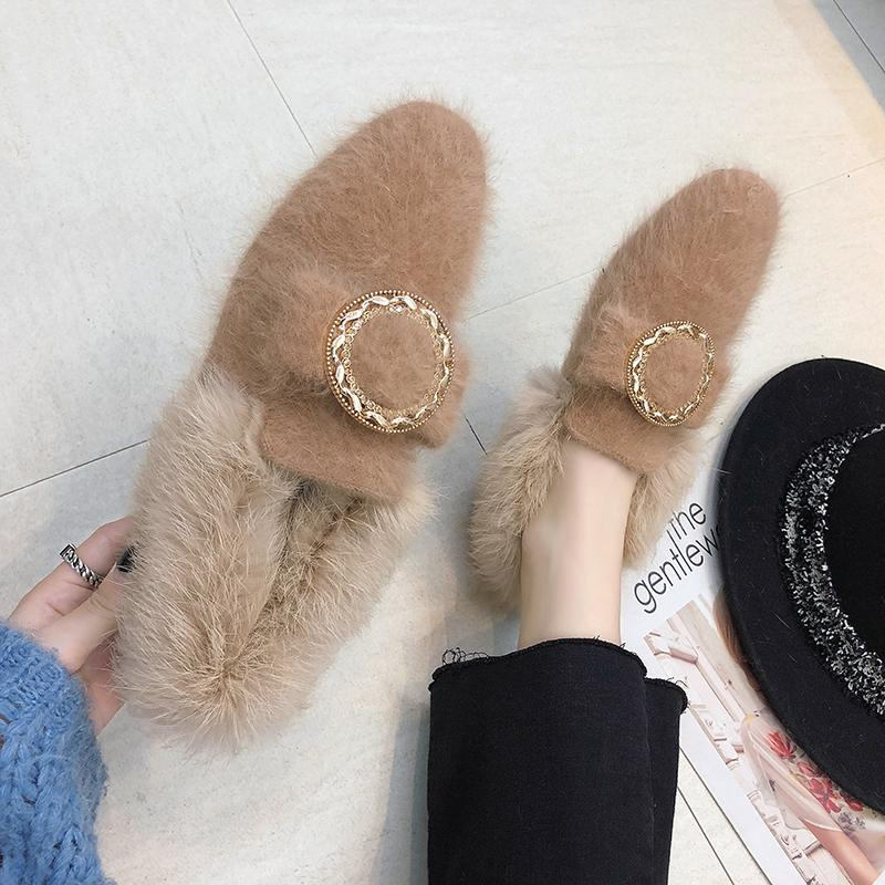 All-Match Shoes Woman 2019 Dress Flats Women Shallow Mouth Loafers Fur Modis Women's Moccasins Round Toe Casual Female Sneakers 34