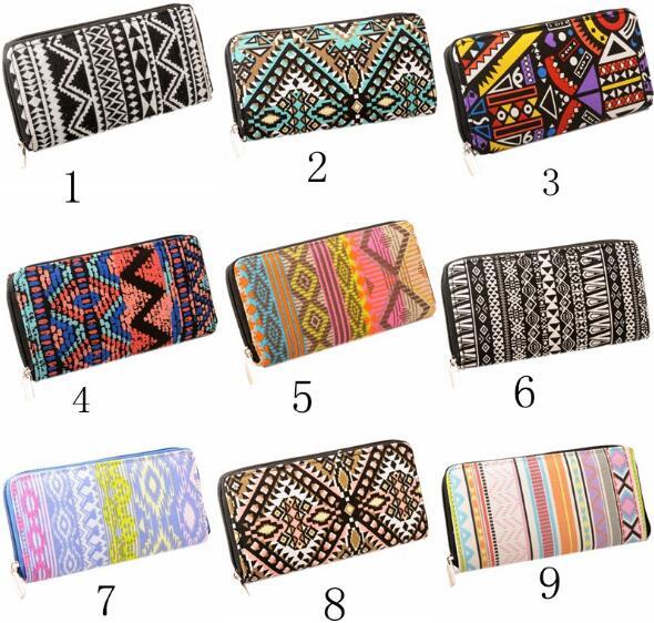 14 Colors Vintage Print Canvas Long Women Wallet Female Purse Ladies Card Holder Girls Money Bag With Zipper Q0085#