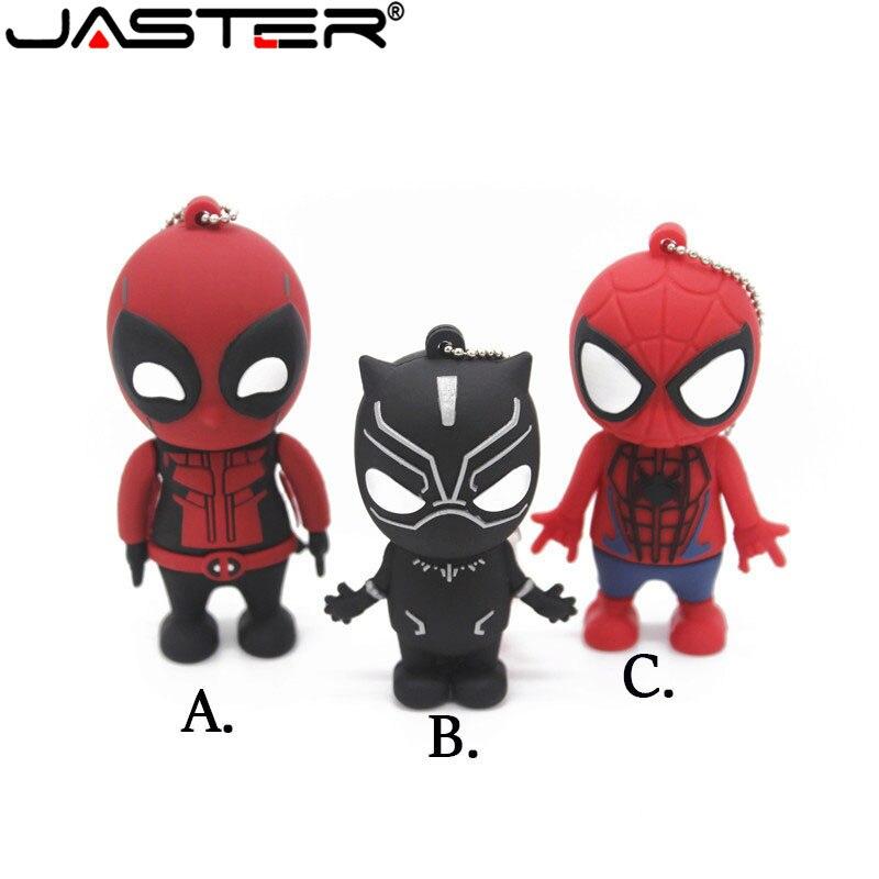 JASTER New Fashion Creative USB 2.0 64GB 32GB 16GB 8GB 4GB 128GB Cartoon Marvel Spider-Man Black Panther Death  USB Flash Drive