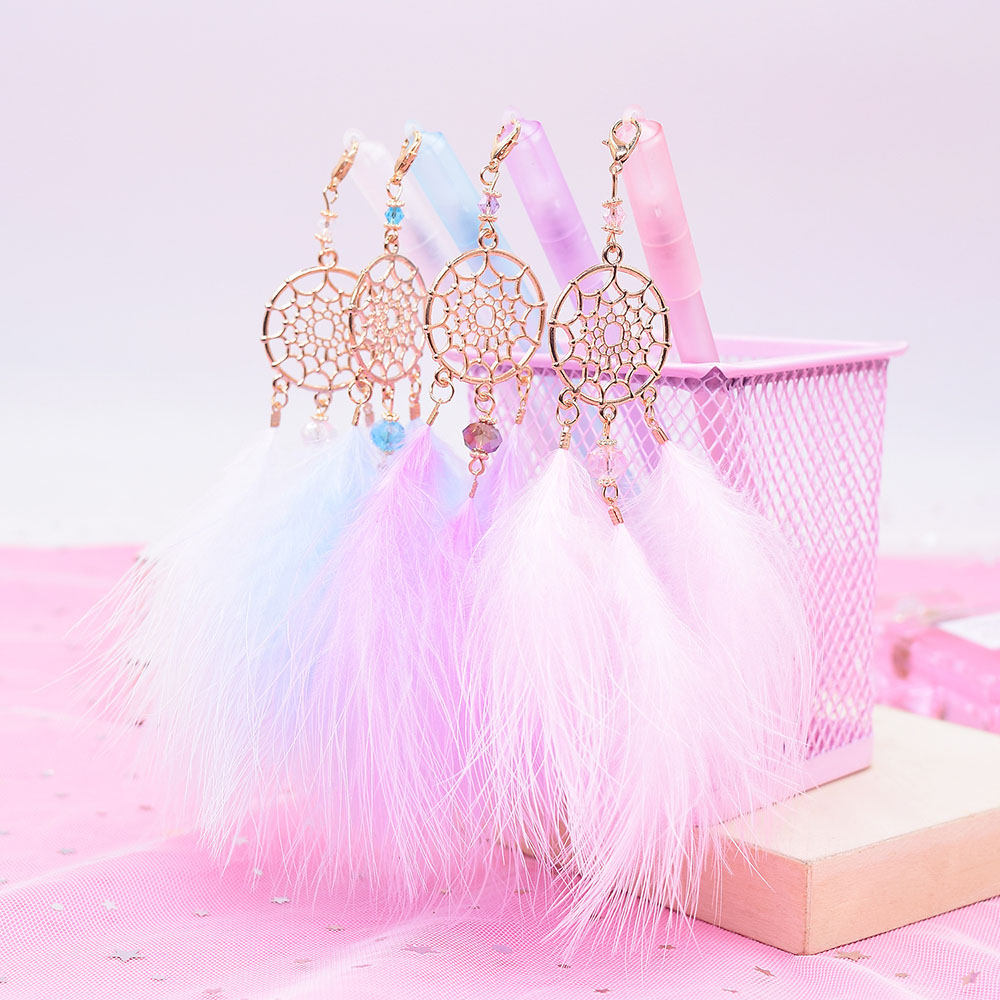 2Pcs Gel Pen Kawaii Dreamcatcher Feather Pendant Neutral Pens For School Gift Writing Office Supplies Stationery Novelty Item