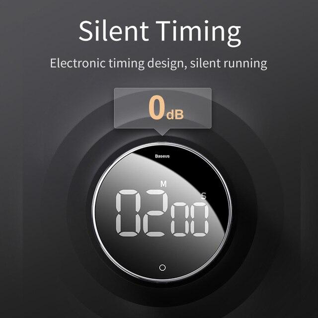 Цифровой магнитный светодиодный таймер-екундомер Baseus для кухни 2