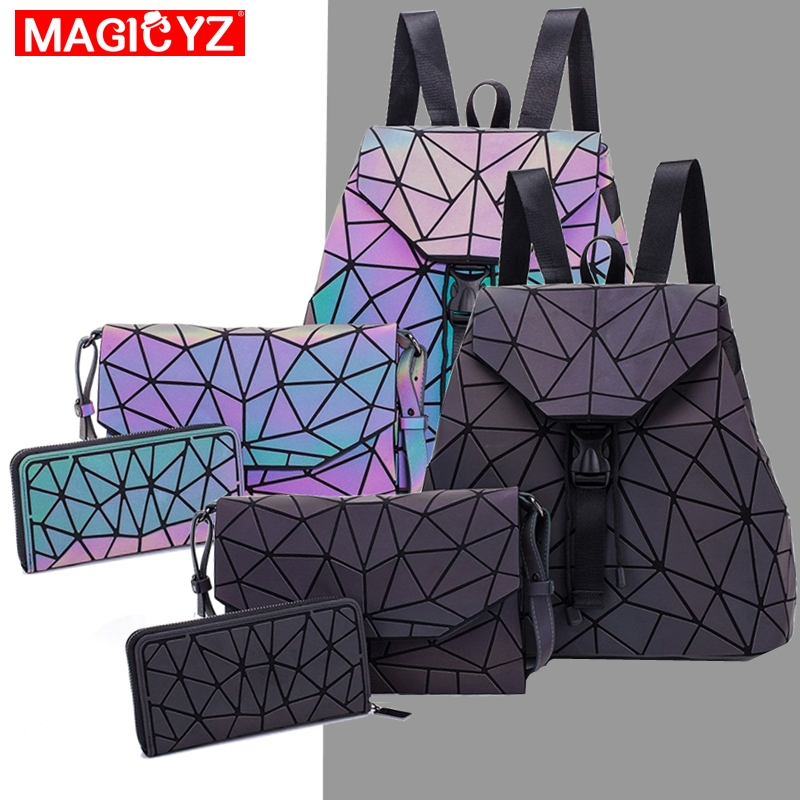 Luminous Backpack For Women 2019 Set Geometric Laser Female Backpacks Girls Bookbag Envelope Shoulder Bags Holographic Purse