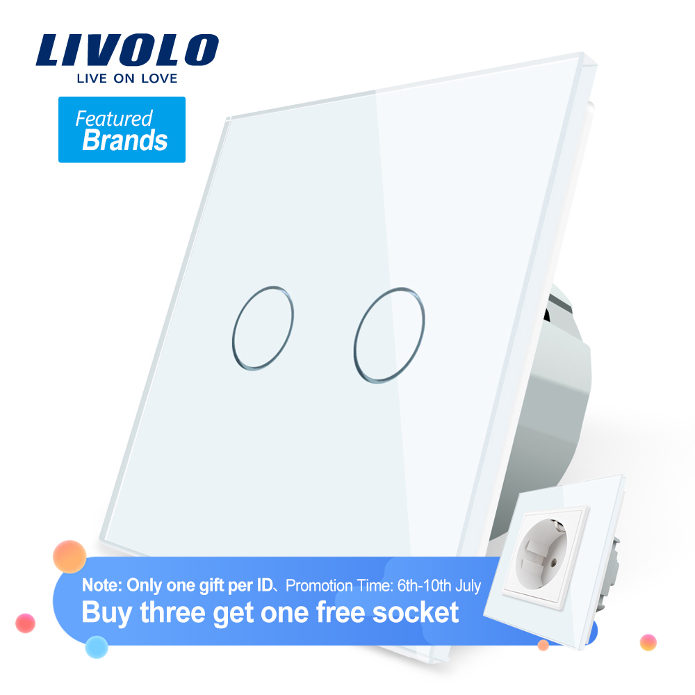 Livolo Glass-Panel Switch Power-Sensor Wall Crystal Led-Backlight 2-Gang 1-Way 7colors