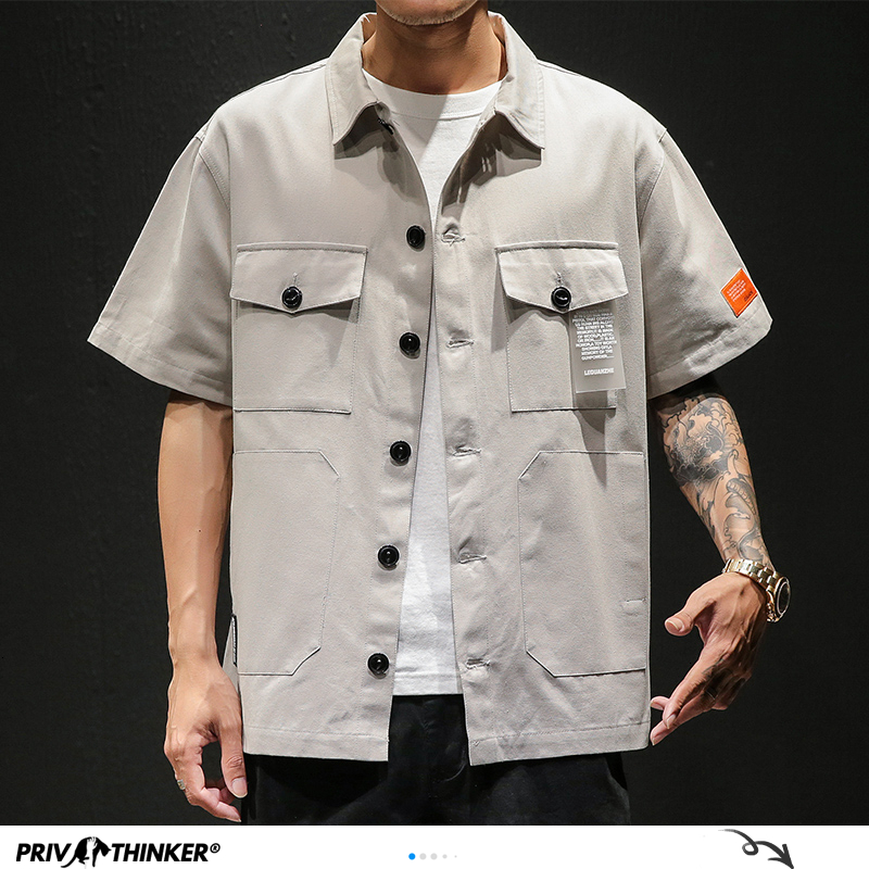 Privathinker <font><b>Men</b></font> Safari <font><b>Style</b></font> <font><b>Shirt</b></font> Streetwear 2020 <font><b>Mens</b></font> Japanese <font><b>Shirts</b></font> Casual <font><b>Korean</b></font> Male Big Pockets <font><b>Shirts</b></font> Summer <font><b>Oversize</b></font> image