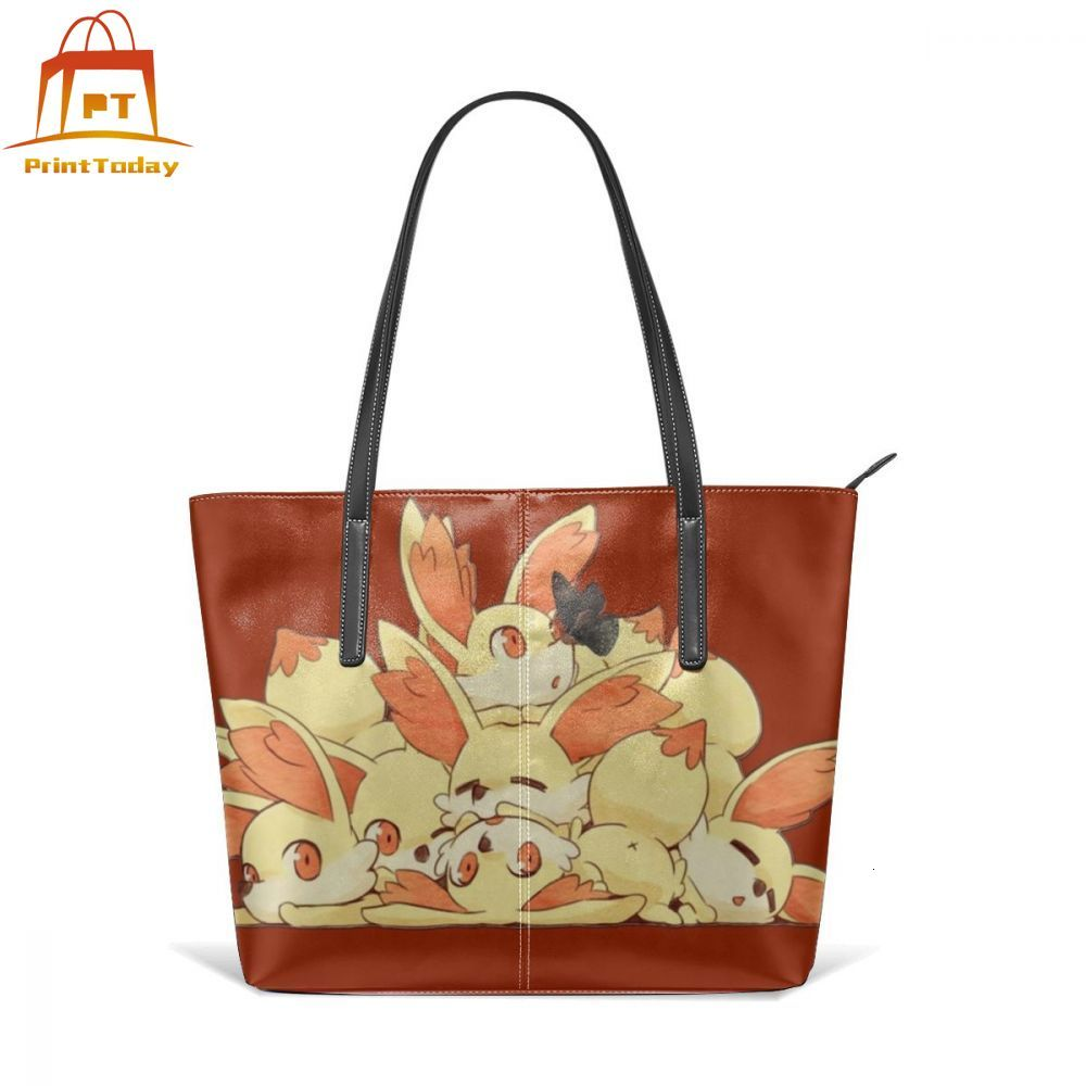 Pikachu Handbag Fennekins Top-handle Bags Oversized Trendy Leather Tote Bag Teenage Woman Street Pattern Women Handbags
