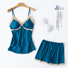 2020 Summer New Ladies Lace Pajamas Sets Sexy Strap Shorts Korean Silk Home Wear Sleeveless V-Neck Pyjamas Women Sleep Lingerie blue adjustable shoulder straps v neck sleeveless lingerie sets