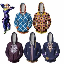 Anime Sweatshirts Hoodie JOJOs Bizarre Adventure GUIDO MISTA Golden Wind Cosplay Costume Zipper Clothing Men Top