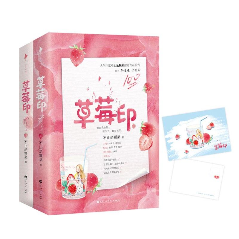 2 Books/Set  Strawberry Kiss Novel  Jinjiang  High Popularity Romance Love Fiction Book Postcard Gift