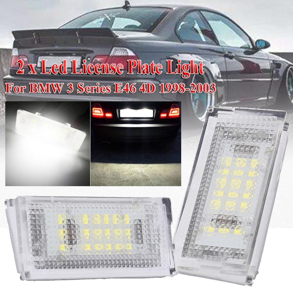 2 חתיכות Led לוחית רישוי אור Led Canbus אוטומטי זנב אור לבן LED נורות לרכב 3er E46 4D 1998-2003 אביזרי רכב