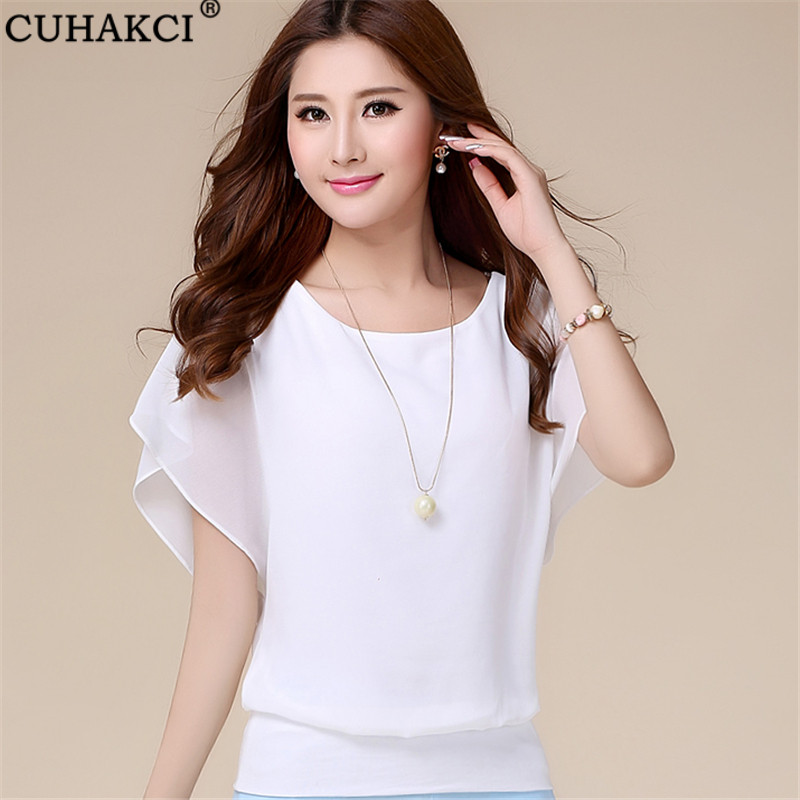 CUHAKCI Plus Size Shirts 5XL Summer Chiffon Blouse New Womens Tops Fashion Women Ruffle Batwing Short Sleeve Casual White Blouse