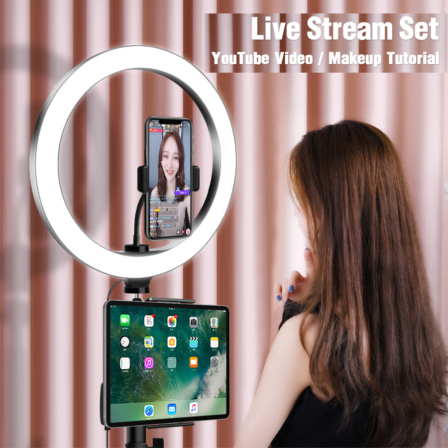 LED Selfie Ring Light Studio Photography Photo Fill Ring Light with Tripod for Tablet Smart Mobile Phone Holder iphone Makeup