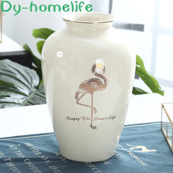18 * 29CM Ice Crack Ceramic Hand-painted Gold Flamingo Pattern Vase Hotel Decoration Crafts Decoration Home Decoration Supplies