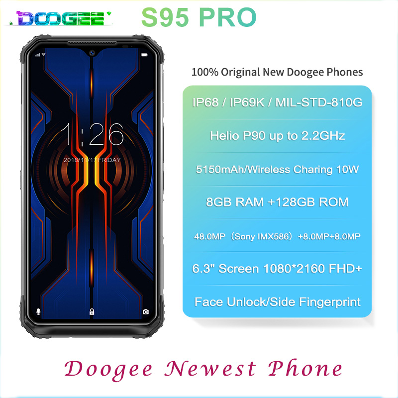 DOOGEE S95 Pro IP68 Helio P90 Octa Core 8GB 128GB Android 9.0 Mobile Phones  Modular Rugged Phone 6.3inch FHD Display 5150mAh