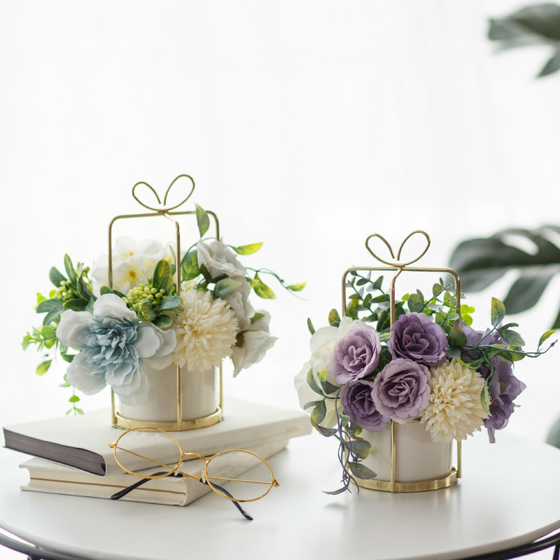 CHENAO European Style style flower Pot set vase table setting decoration indoor artificial home decoration  Potted flowers 3