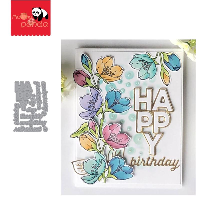 HAPPY WORDS Metal Cutting Dies Scrapbooking Stencil Die Cuts Card Making DIY Decorative Craft Embossing New Dies