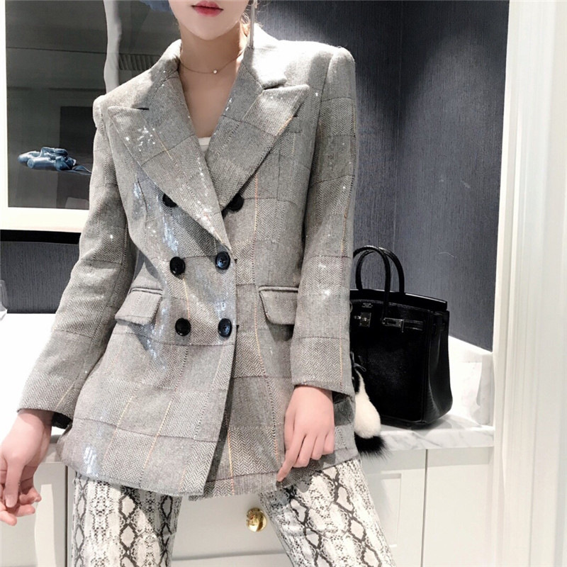 New Designer Gray Glitter Sequined Blazer Reflective Shiny Double-breasted Lion Button Silver Women Blazer Suit Jacket Female