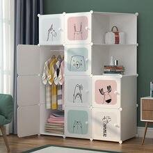 Eenvoudige Garderobe Diy Slaapkamer Opbergkast Plastic Montage Eenvoudige Combinatie Opbergrek Stofdicht Vouwen Babygarderobe