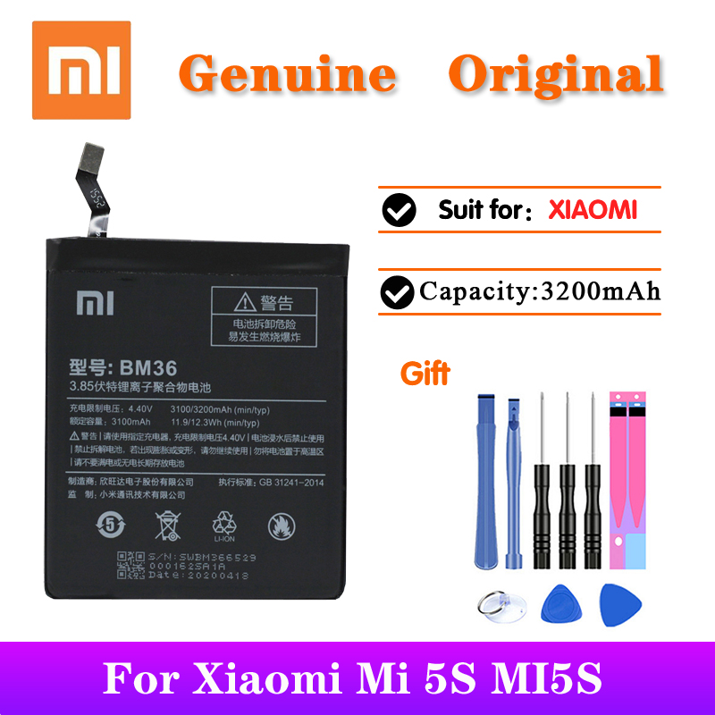 Xiaomi Original Replacement <font><b>Battery</b></font> BM36 For <font><b>Mi</b></font> <font><b>5S</b></font> MI5S Genuine Phone <font><b>Batteries</b></font> With Free Tools 3200mAh image