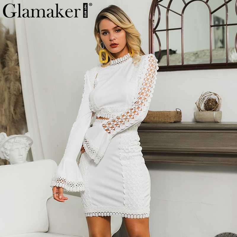 Glamaker, кружевное Белое Облегающее мини-платье, Женский костюм из двух частей, с расклешенными рукавами, зимнее платье, осенние короткие сексуальные вечерние элегантные платья для клуба