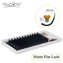 NEWCOME False Mink Eyelash Matte Flat Lashes,Individual Natural Soft Ellipse Lash Split Tips Shaped Makeup