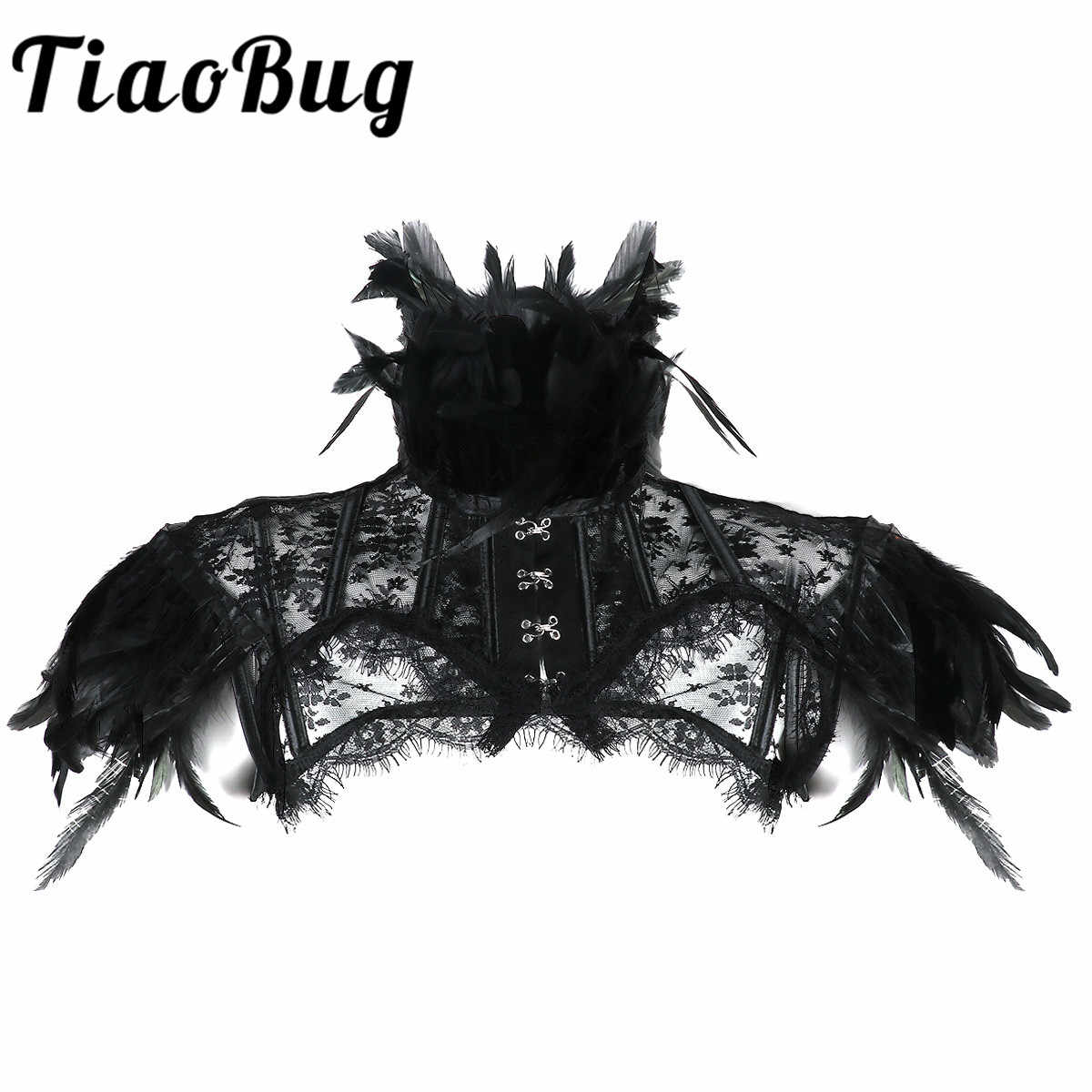 Fashion Women Retro Vintage Gothic Feather Collar Shoulder Lace Cape Bolero Jacket Shrug Tops Halloween Party Goth Rave Costumes