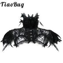 Mode Frauen Retro Vintage Gothic Feder Kragen Schulter Spitze Cape Bolero Jacke Shrug Tops Halloween Party Goth Rave Kostüme