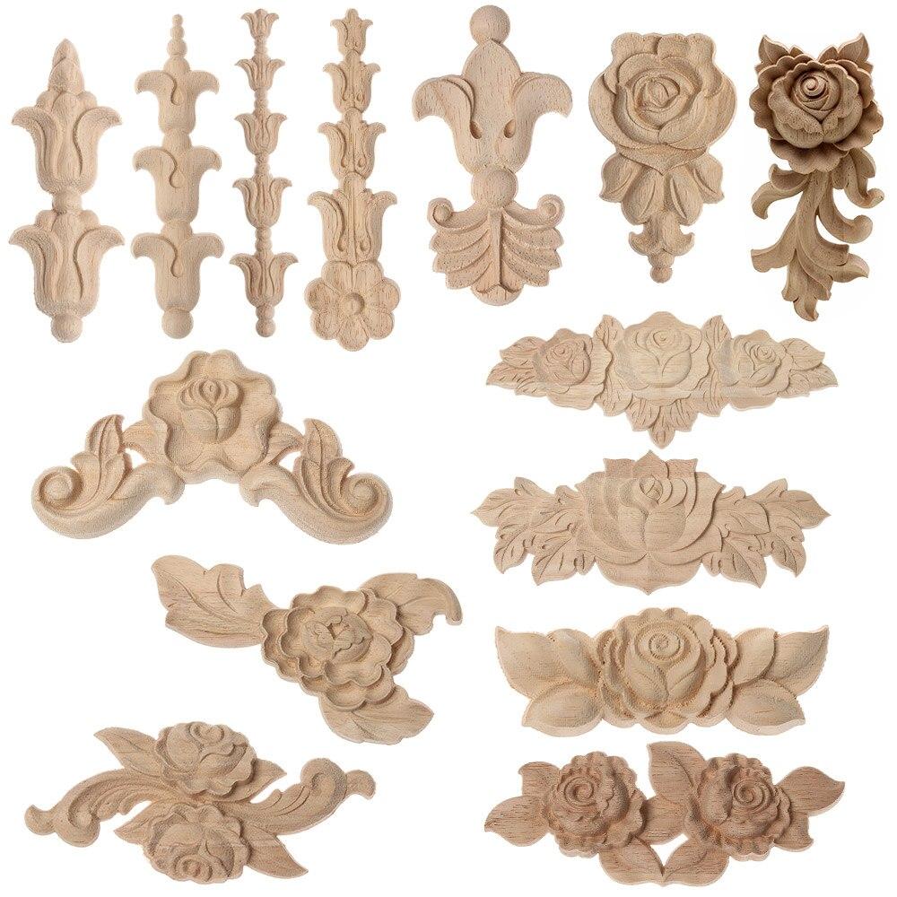 Natural Woodcarving Rose Flower Corner Appliques Wood Floral Carved Furniture Cabinet Door Unpainted Mouldings Decal Decorative