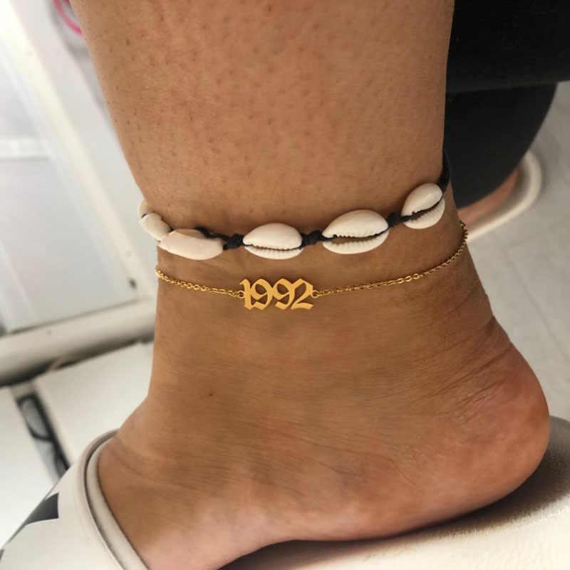 Minimalism จำนวนข้อเท้าสร้อยข้อมือเท้าส่วนบุคคลพิเศษ Dates Birth ปี Anklets มิตรภาพของขวัญ 2019 bff