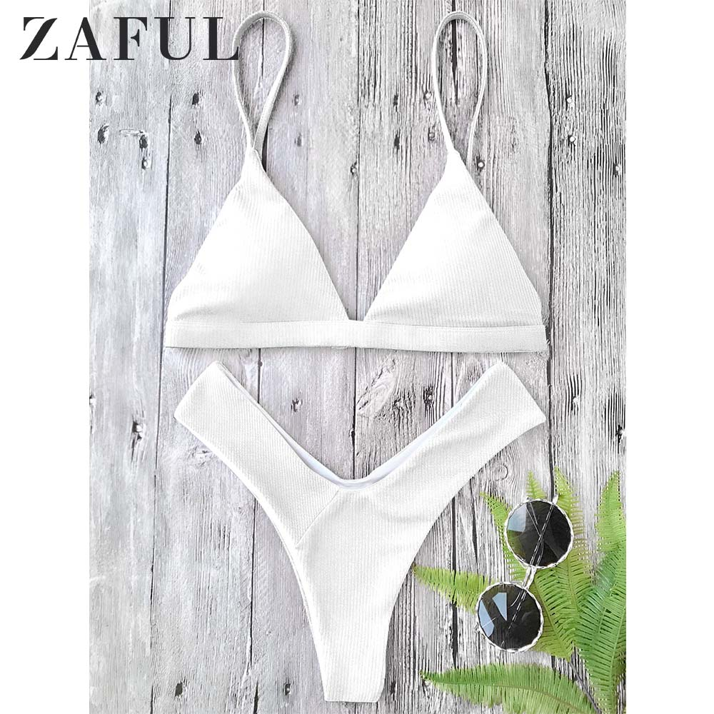 ZAFUL Textured High Cut Padded Plunge Bikini Set Spaghetti Straps Solid Summer Swim Suit Elastic Low Waisted Bathing Suit 2019