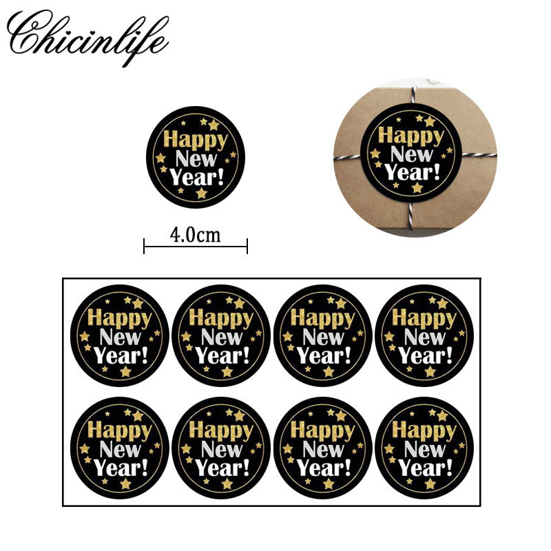 Chicinlife 60Pc <font><b>Happy</b></font> <font><b>New</b></font> <font><b>Year</b></font> <font><b>2020</b></font> Stickers Seals Labels <font><b>Cards</b></font> Gift Packaging Bake Envelopes Boxes Decoration Supplies image
