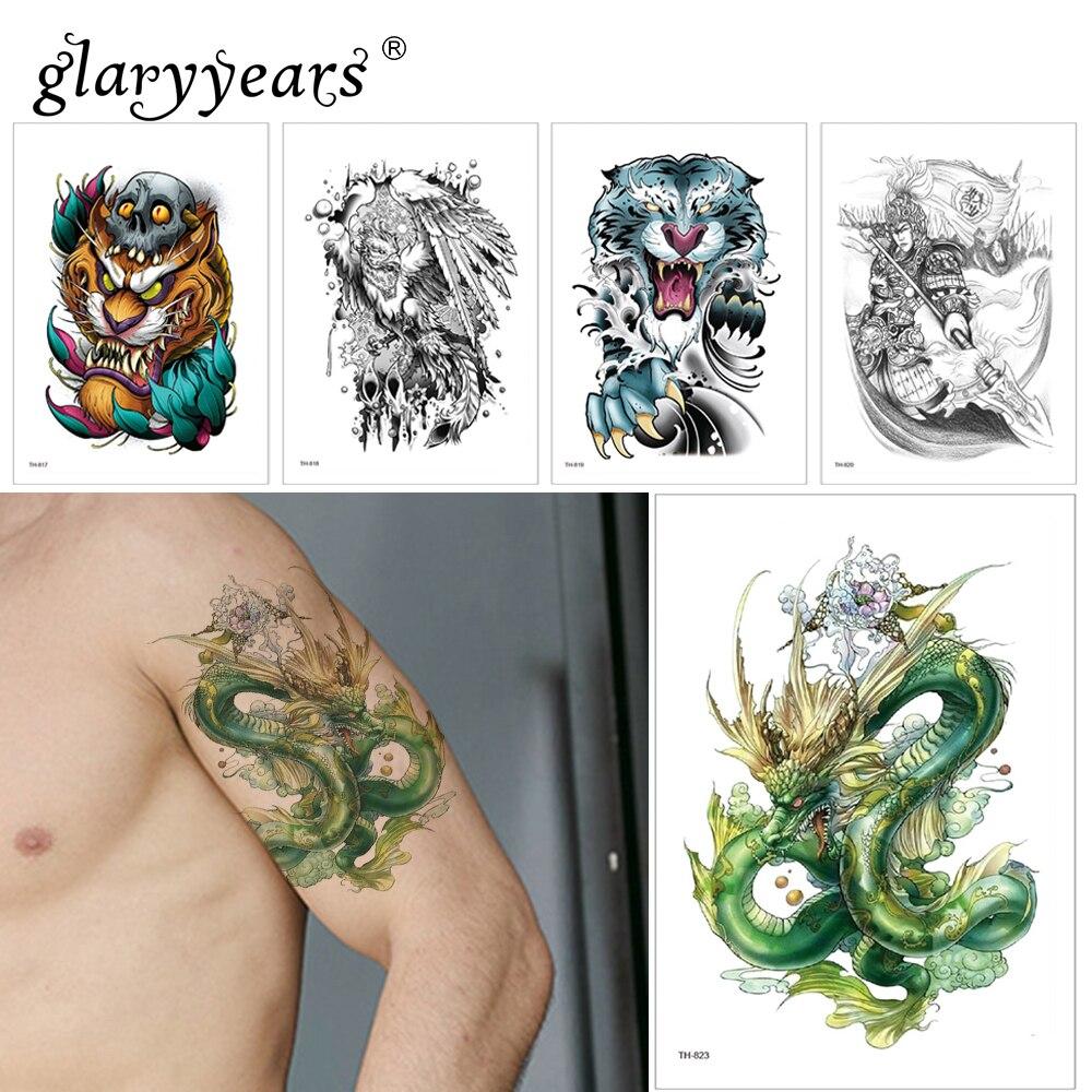 Glaryyears 1 Sheet Dragon Temporary Tattoo Sticker Colorful Fake Monster Flash Waterproof  Fashion Small Body Art Men Women
