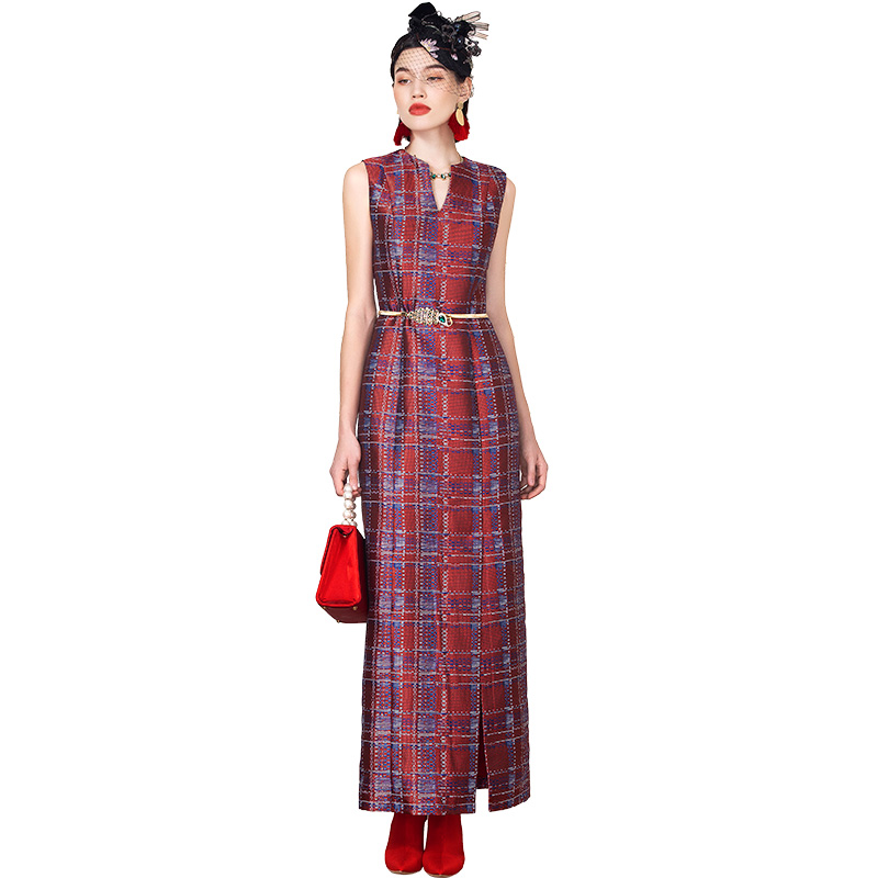 Qualité bureau dame robe droite Plaid fente Maxi robe de soirée d'été sans manches taille mince robes longues Club robe 8123
