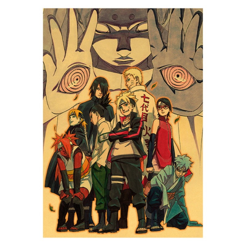 Naruto Action Figure Toys Classic Kraft Paper Stickers Uzumaki Sasuke Kakashi Japan Anime Naruto Poster Collection Gift For Kid image