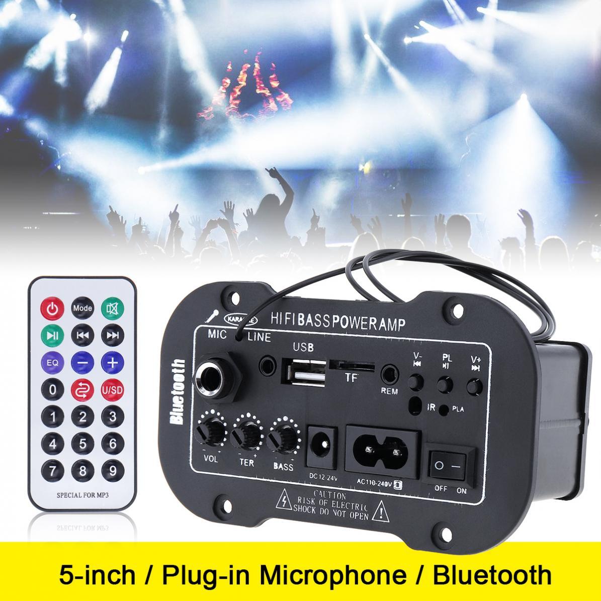 5 Inch 25W HI-FI Bluetooth Car Audio Power Amplifier FM Radio Player Support  SD / USB / DVD / MP3 Input for Car Motorcycle